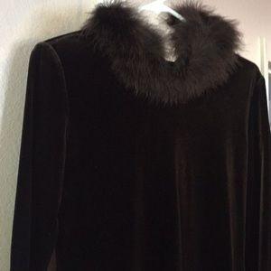 Choco Brown Velvet Maxi Formal sz6 faux fur trim
